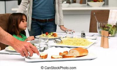 etentje, hebben, samen, gezin