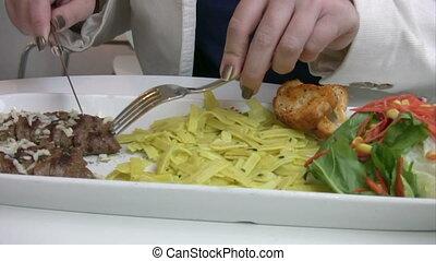 etentje, vrouwen, hebben, restaurant