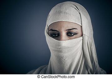 ethnische , jonge, woman., modieus, verticaal, arabische