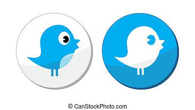 etiket, blauwe , sociaal, vogel, media, vector