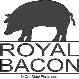 etiket, restaurant., varkensvlees, pictogram, bacon., vlees, logo, sticker, afdrukken, silhouette., koninklijk, ouderwetse