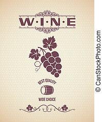 etiket, wijntje, backgroun, druiven, ouderwetse