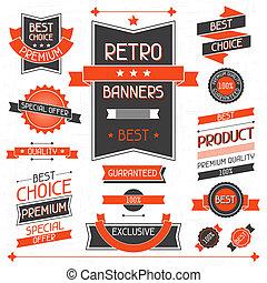 etiketten, banners., set, stickers., retro