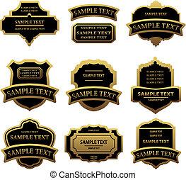 etiketten, gouden, set, lijstjes