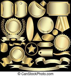 etiketten, gouden, (vector), set, zilverachtig