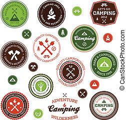 etiketten, kamperen