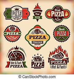 etiketten, ouderwetse , set, vector, pizza