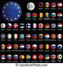 europa, iconen, verzameling, tegen, black , glanzend