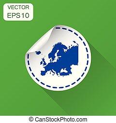 europa, kaart, concept, handel illustratie, sticker, lang, etiket, vector, groene, pictogram., achtergrond, icon., shadow.