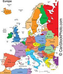 europa, landen, editable, namen