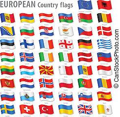 europa, nationale, vector, set, vlag