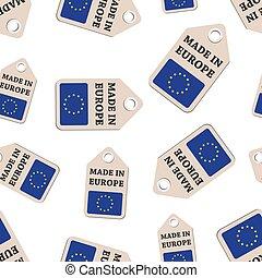 europa, plat, gemaakt, illustration., zakelijk, pattern., model, sticker, hangen, seamless, meldingsbord, achtergrond., vlag, vector, label, symbool
