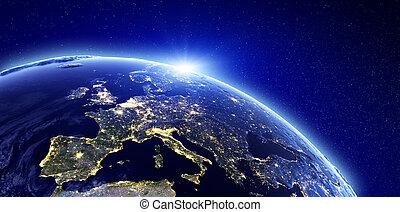 europa, stad, -, lichten