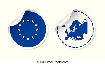 europa, unie, map., sticker, country., illustratie, achtergrond., vlag, vector, etiket, witte , label, ronde, europeaan