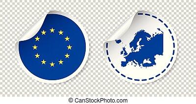europa, unie, map., sticker, country., vrijstaand, illustratie, achtergrond., vlag, vector, etiket, label, ronde, europeaan