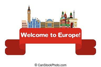 europe., postkaart, rusland, engeland, reizen