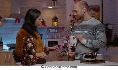 eva, festivity, paar, kerstmis kaart, feestelijk, ondertekening