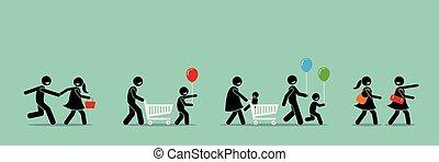event., shoppen , carnaval, omzet, kopers, gaan, vrolijke