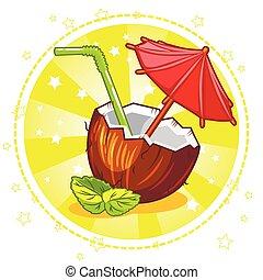 exotische , cocosnoot, cocktail.