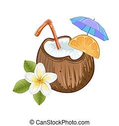 exotische , cocosnoot, cocktail