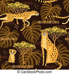 exotische , jungle., savannah., model, reizen, seamless, illustratie, stylized, herhaald, vector, achtergrond, wilde katten, leopards, cheetahs