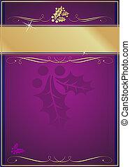 exotische , opgesmukt, kerstmis, label, hulst, bloeien, of, kaart