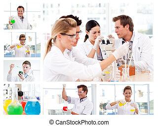 experimenten, wetenschappers, enigszins, collage