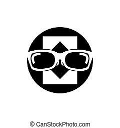eyeglass, illustratie, mal, vector, logo