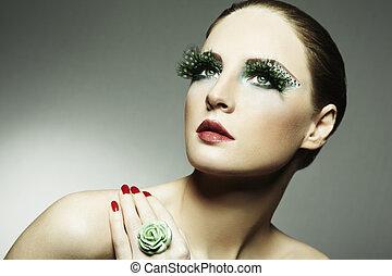 eyelashes, vrouw, foto, jonge, lang, mode