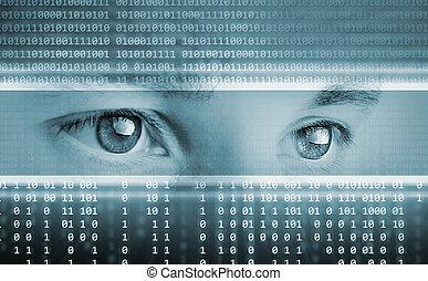eyes, computer, achtergrond, high-tech, technologie, display