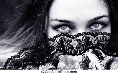 eyes, vrouw, achter, ventilator, verleidelijk, sensueel