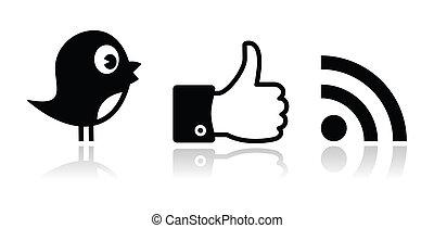 facebook, twitter, black , glanzend, rss