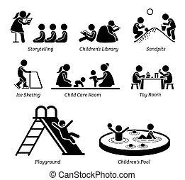 faciliteiten, recreatief, activities., kinderen