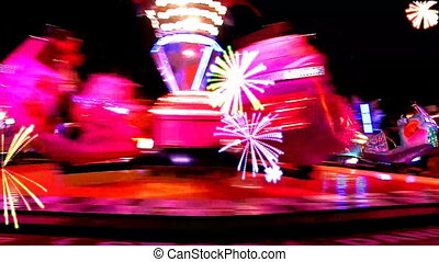 fairground, nacht, stad