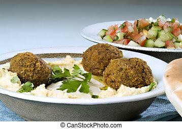 falafel, hummus, arabische , slaatje