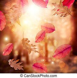 fall., bladeren, autumn., achtergrond., herfstachtig