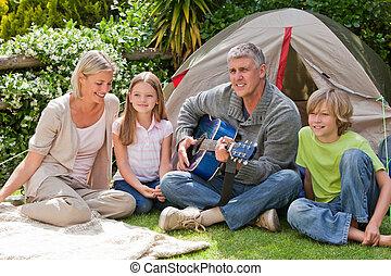 familie kampeerterrein, tuin, vrolijke