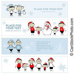 familie kerstmis, ontwerp, samen, vakantie, spandoek, jouw, vrolijke