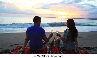 familie picknick, hebben, strand