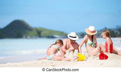 familievakantie, tropische , zand, vervaardiging, kasteel, het genieten van, strand, witte