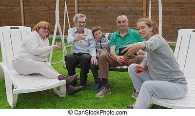 family., haar, buiten, vrouw, feestje, selfie, pa???e?