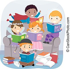 fantasie, boekjes , stickman, lezende , geitjes