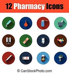 farmacy, set, iconen