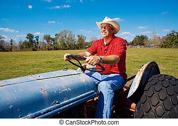 farmer, akker, mows