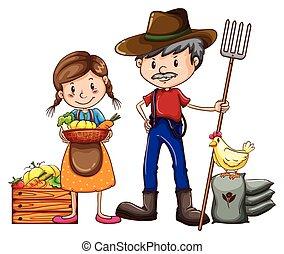 farmer, verkoper
