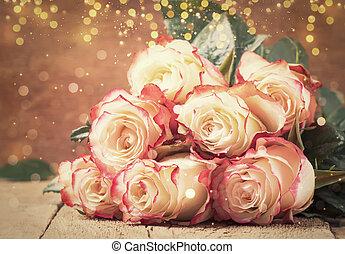 feestelijk, brandpunt, rooskleurige rozen, valentines, ouderwetse , rood, selectief, bouquetten, kaart, achtergrond, houten, dag