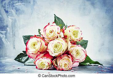 feestelijk, brandpunt, rozen, valentines, rood, selectief, bouquetten, witte , kaart, dag