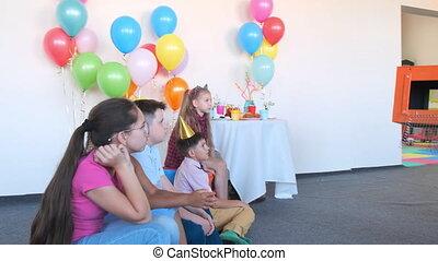 feestje, animator, magisch, jarig, doosje, truc, lege, optredens