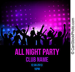 feestje, disco, achtergrond, poster