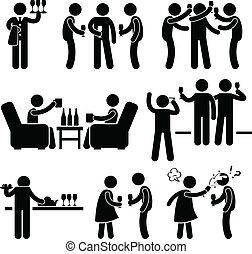 feestje, mensen, cocktail, vriend, man